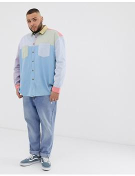 Asos Design Plus Oversized 90's Style Cut &Amp; Sew Denim Shirt In Pastels by Asos Design