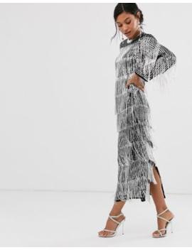 Asos Edition Sequin &Amp;Amp; Fringe Midi Tunic Dress by Asos Edition