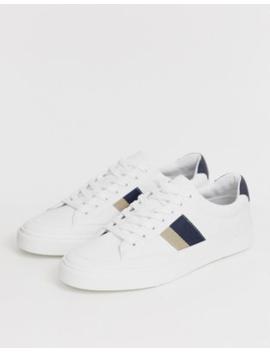Pull&Amp;Bear – Weiße Sneaker Mit Doppeltem Seitenstreifen by Asos