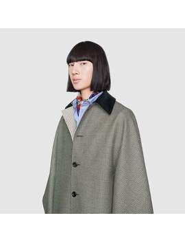 Houndstooth Wool Cape by Gucci