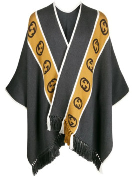 Wool Poncho With Interlocking G Stripe by Gucci