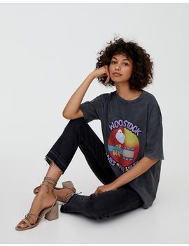 T Shirt Med Woodstock Plakat by Pull & Bear
