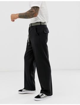 Asos Design Wide Leg Smart Pants In Black 100% Wool by Asos Design