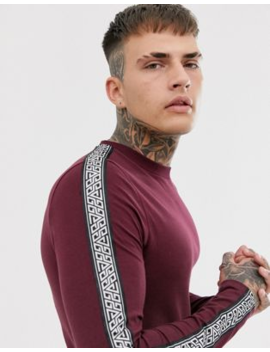 Asos Design Skinny Long Sleeve T Shirt With Stretch And Geo Taping In Burgundy by Asos Design