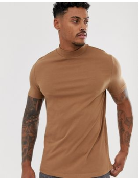 Asos Design Organic T Shirt With Turtle Neck In Brown by Asos Design