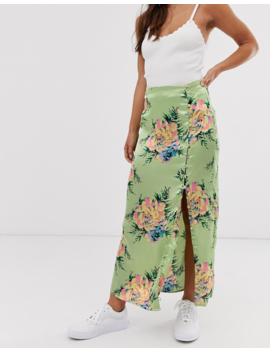 Asos Design City Maxi Satin Slip Skirt With Rouleau Loop Buttons In Rose Floral by Asos Design