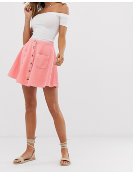Asos Design Cord Mini Skater Skirt With Buttons And Pockets by Asos Design