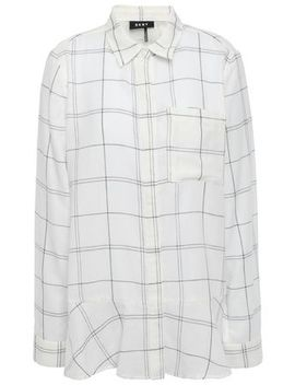 Metallic Trimmed Checked Cotton Blend Gauze Shirt by Dkny