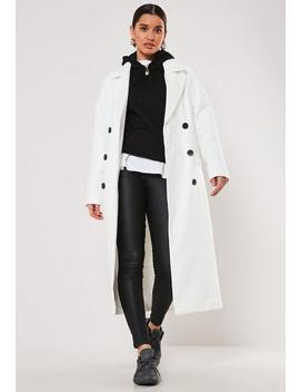 White Oversized Double Breasted Midaxi Coat by Missguided