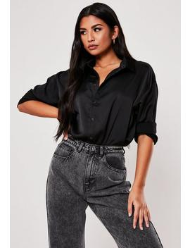 Black Satin Longline Extreme Oversized Shirt by Missguided
