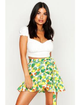 Petite Lemon Print Ruffle Hem Tie Wrap Skirt by Boohoo