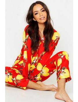 Lemon Print Button Through Pyjamas by Boohoo