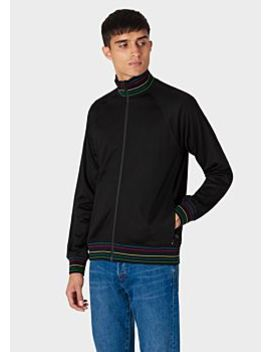 Men's Black Cotton Blend Track Top With 'sports Stripe' Trim by Paul Smith