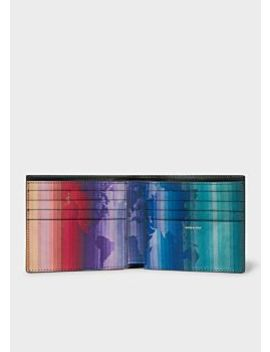 Men's Black Leather 'rainbow Map' Print Interior Billfold Wallet by Paul Smith