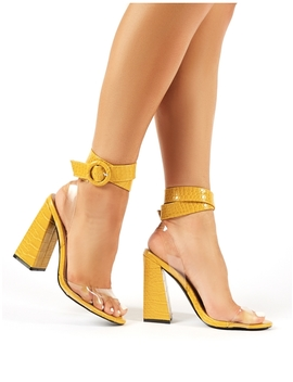 Commit Mustard Snakeskin Flared Block Heels by Public Desire