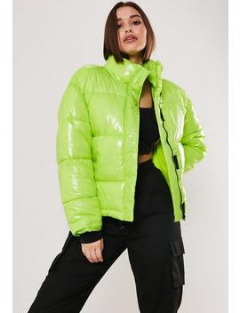 Neon Green Oversized Puffer Jacket by Missguided