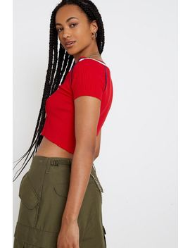Uo Sport Stripe Zip Front Top by Urban Outfitters