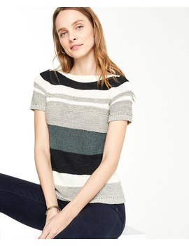 Petite Textured Stripe Short Sleeve Sweater by Ann Taylor
