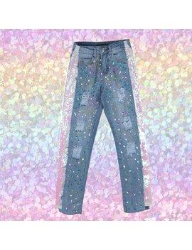 Bling Bling Glitter Denim Jeans by Kokopiecoco