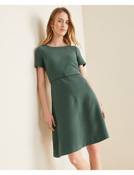 Petite Doubleweave Belted Flare Dress by Ann Taylor