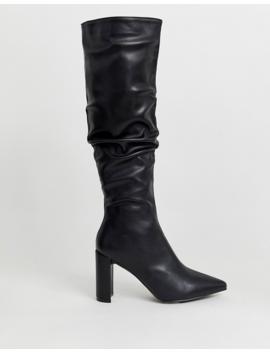 Public Desire Mine Black Slouch Knee Boots by Public Desire