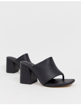 Asos Design Wide Fit Waterfall Leather Heeled Sandals In Black by Asos Design