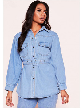 Jenny Denim Belted Shirt by Missy Empire