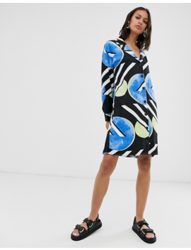 Native Youth Exclusive Shirt Dress In Abstract Polka Dot by Native Youth