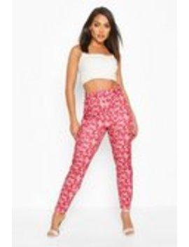 Oriental Print Belted Skinny Trouser Oriental Print Belted Skinny Trouser by Boohoo