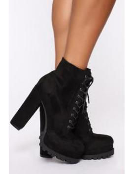 No Strings Attached Booties   Black by Fashion Nova
