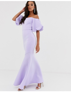 True Violet Black Label Puff Sleeve Peplum Maxi Dress In Lilac by True Violet