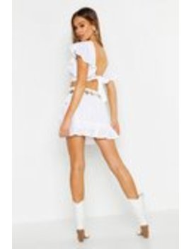 Broderie Anglais Knot Back Ruffle Hem Co Ord Set Broderie Anglais Knot Back Ruffle Hem Co Ord Set by Boohoo