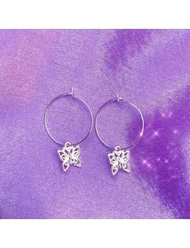Butterfly Hoop Earrings by Etsy