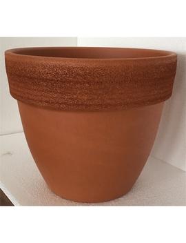 Terracotta Universal Scratch Rim Garden Plant Pot   Red / 35cm by Homebase