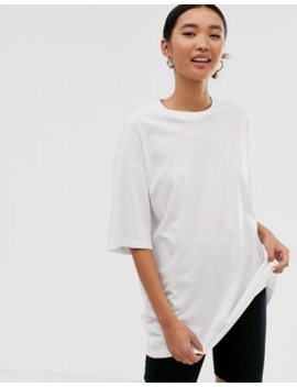Monki – Lang Geschnittenes Oversize T Shirt In Weiß by Asos