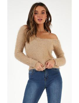 Dont Want To Let You Knit Jumper In Beige by Showpo Fashion