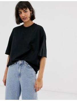 Monki – Schwarzes Oversize T Shirt Mit Rundhalsausschnitt by Asos