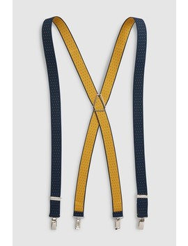 Navy/Yellow Spot Polka Dot Braces by Next