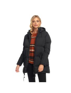 Fluid Womens Long Padded Zip Through Jacket Black by Fluid