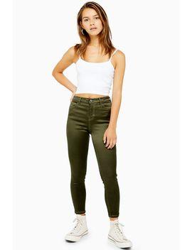 khakifarbene-jamie-jeans-aus-baumwollsatin-petite-größe by topshop