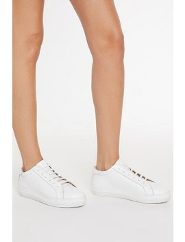 White Leather Lace Up Court Sneaker by Nasty Gal