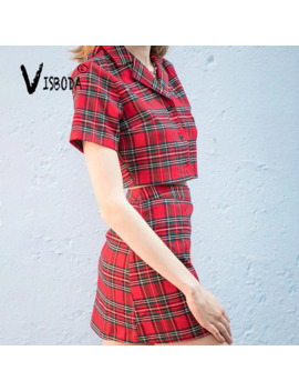 Blazer Suit Dress For Women 2 Piece Set Top And Mini Skirt 2019 Summer Lady Girls Casual Korea Japan Red Plaid Match Suit Femme by Ali Express.Com