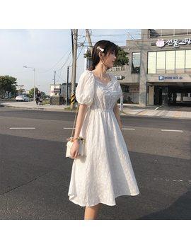 Mishow Women Summer Dress 2019 Korean Sweety Soild White Dresses For Girls Slim High Waist Female Midi Vestidos Mx19 B1907 by Ali Express.Com