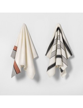 2pk Kitchen Towels Cream / Black &Amp; Rust Stripe   Hearth &Amp; Hand With Magnolia by Hearth & Hand With Magnolia