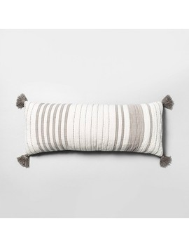 Lumbar Pillow Oversized Stripe Gray &Amp; Sour Cream   Hearth &Amp; Hand With Magnolia by Hearth & Hand With Magnolia