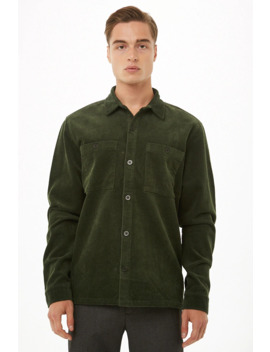 Corduroy Fitted Shirt by Forever 21