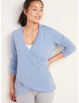 Faux Wrap French Terry Sweatshirt For Women by Old Navy