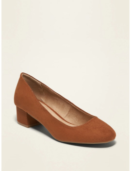 Faux Suede Mid Heel Pumps For Women by Old Navy
