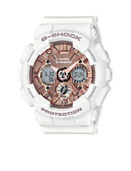 Women's White Band With Rose Gold Tone Metallic S Series G Shock Watch by G Shock