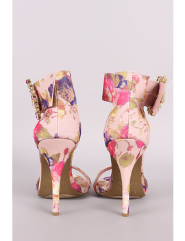 Printed Jewels Embellished Buckle Ankle Strap Heel by Urbanog